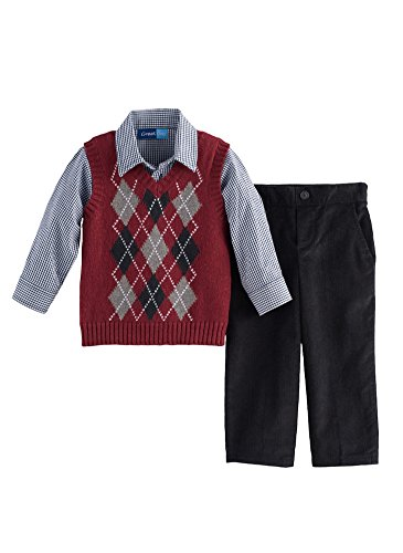 Great Guy Baby Boy Argyle Sweater Vest, Shirt & Corduroy Set, Burgundy Multi (12 Months)