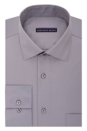 Geoffrey Beene Men's Regular Fit Sateen Solid Dress Shirt, Gunmetal, 15