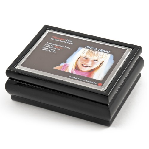 4'' X 6'' Black Lacquer Photo Frame Music Box With New ''Pop-Out'' Lens System - Love is Blue (L'amour est Bleu) - SWISS by MusicBoxAttic