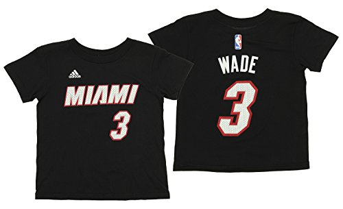 Dwyane Wade Hoops - adidas NBA Kid's Miami Heat Dwyane Wade Short Sleeve Game Time Tee, Black L(7)