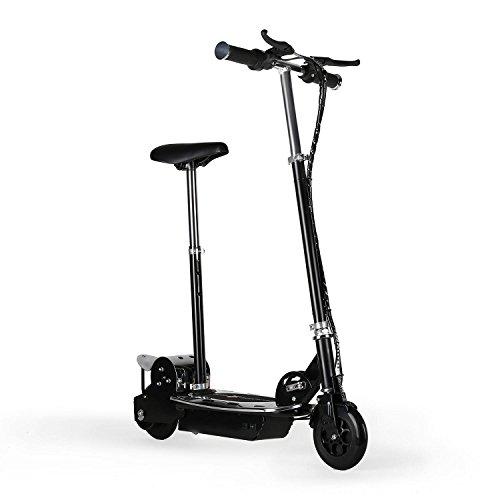 Electronic Star V8 E-Scooter mit Sattel Kinder Roller elektrisch (120W Elektro-Motor, 16km/h Höchstgeschwindigkeit, 2 Bremsen, 6 bis 8 Stunden-Akku-Betrieb, 16km Reichweite) schwarz