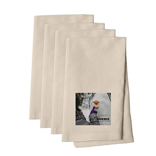 Making Snowman Some Assembly Is Required Cotton Canvas Dinner Napkin, Set of 4