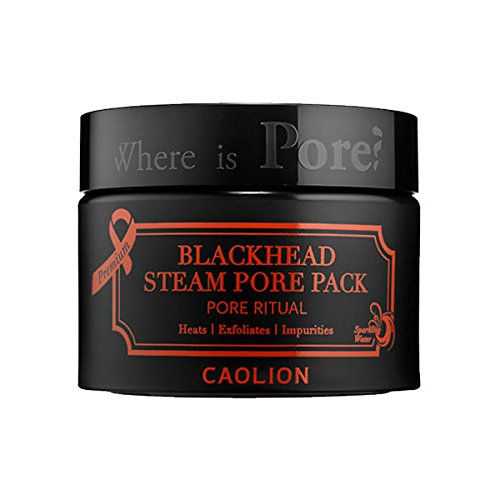 Caolion Premium Blackhead Steam Pore Pack - Cleanses Deep within Pores with Steaming Effect, Charcoal, Volcanic Ash - 1.76 oz.
