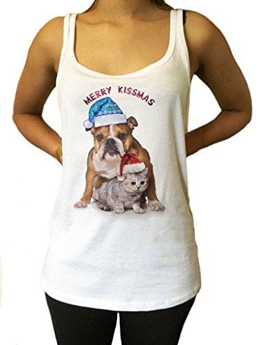 Irony Maglietta Jersey 'Buon Natale' Divertente Natale Parodia Bulldog e Gattino Cappelli Xmas Stampa JTK1067