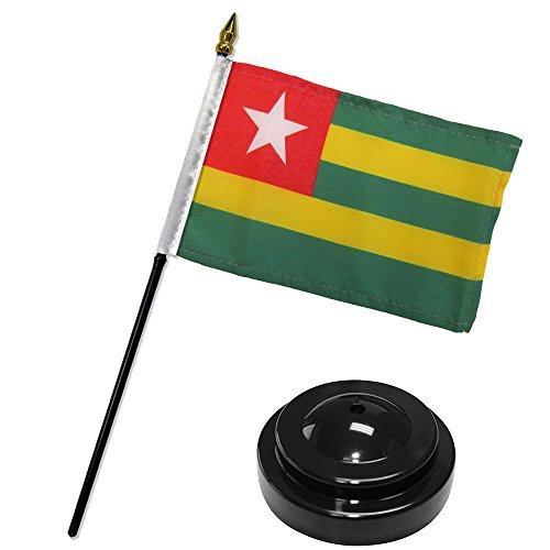 ALBATROS Togo 4 inch x 6 inch Flag Desk Set Table Stick with Black Base for Home and Parades, Official Party, All Weather Indoors Outdoors