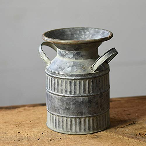 - PDHome Metal Milk Can - Rustic Ribbed Farmhouse Style