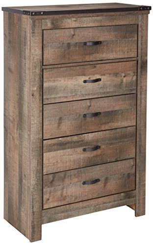 Antique Oak Plank Barn (Ashley Furniture Signature Design - Trinell Chest - 5 Drawers - Nailhead Accents - Rustic Brown Finish - Antiqued Bronze Hardware)