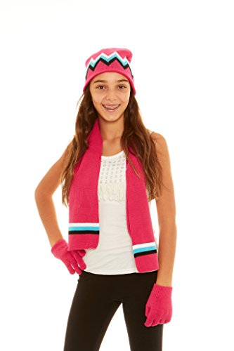 S.W.A.K Girls Knit Hat, Scarf And Gloves Set - Fuchsia/ Turq Combo