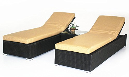 Outdoor Patio Synthetic Rattan Wicker 3 Pc Chaise Lounge Chair Set w/ Side Table