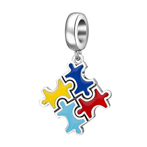 925 Sterling Silver Bead Puzzle Piece Dangle Fits Pandora Charm Beads (Colorful) ()
