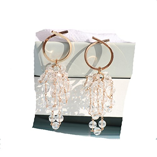 - BBG Silver pin Plated Gold Trend Crystal Grape Bunch Long Paragraph Fairy Earrings Minimalist Earrings,As Show,One Size