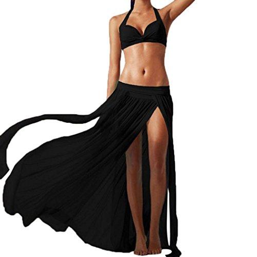 Women Summer Skirt 2018,Todaies Women Sexy Boho Chiffon High Split Long Maxi Skirt Beach Skirt 5 Colors (Free Size, Black)