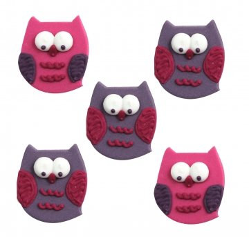 Owl Pal Edible Sugar Cake and Cupcake Decorations - Pack of 5