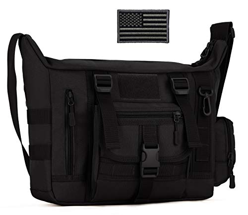 ArcEnCiel Military Tactical Messenger Bag Shoulder Sling Pack Water Resistant Molle Laptop Crossbody Daypack with Patch (Black)