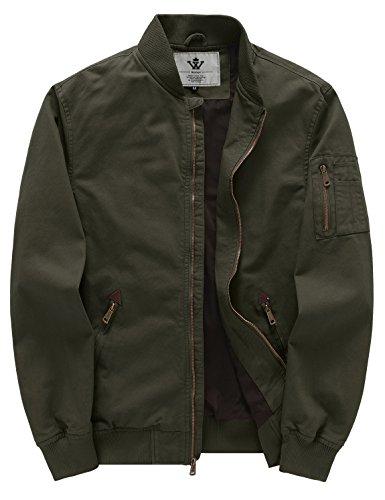 WenVen Men's Fall Cotton Casual Bomber Jacket(Army Green,Medium)