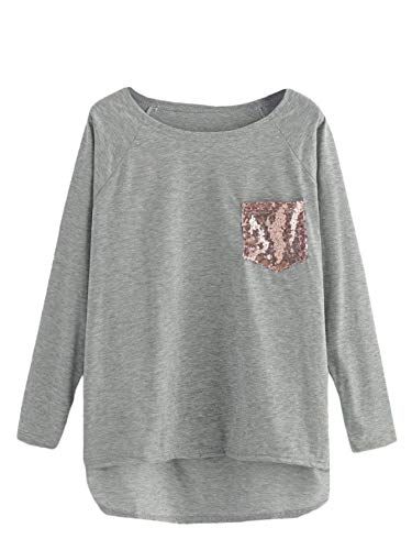 (SheIn Women's Casual Dip Hem Sequin Long Sleeve T-Shirt Tee Top Grey XL)