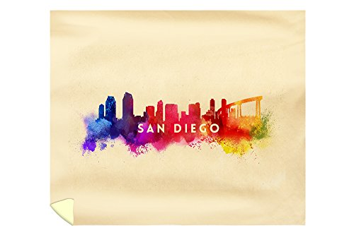 Lantern Press San Diego, California - Skyline Abstract 57946 (88x104 King Microfiber Duvet Cover) (& Diego Crate Barrel San)