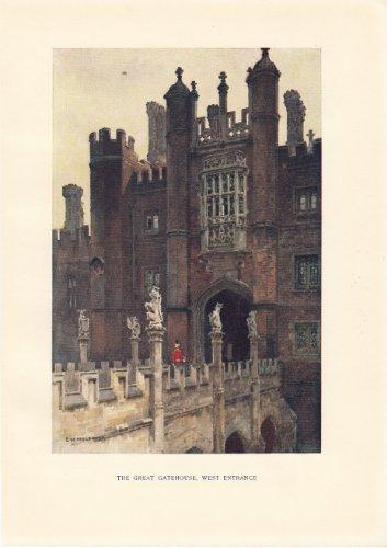The Great Gatehouse - West Entrance- Hampton Court - Vintage Print 1912