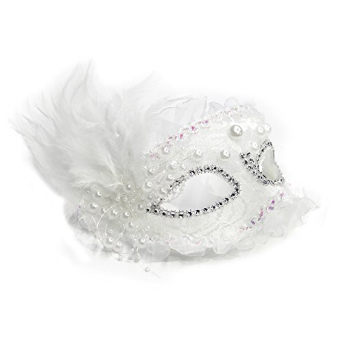 pearl Lace Feather Mask Floral Mardi Gras Masquerade Venetian Costume Masks -