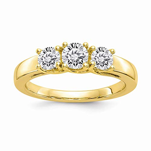 14ky 2.00ct. 3 Stone Moissanite. Ring, Size: 7, 14 kt Yellow Gold ()
