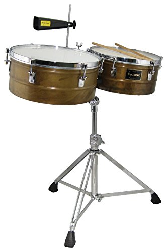 Tycoon Percussion TTI-1415AG 14 & 15 ANTIQUED GOLD TIMBALES SET WITH STAND by Tycoon Percussion