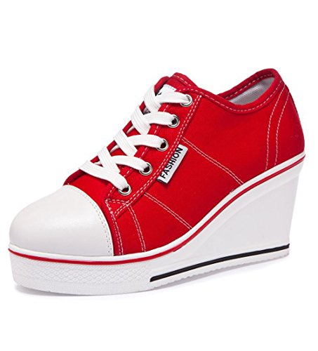 Femme Chaussure Women 43 Chaussures Taille 41 42 Sport Rouge Compensé En Mode Baskets De Toile Sneakers Basse Shoes 40 ttqgBwT
