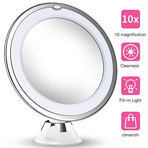 Updated 2019 Version 10X Magnifying Makeup Vanity Mirror With Lights, LED Lighted Portable Hand Cosmetic Magnification Light up Mirrors for Home Tabletop Bathroom Shower Travel (Best Light Stand 2019)