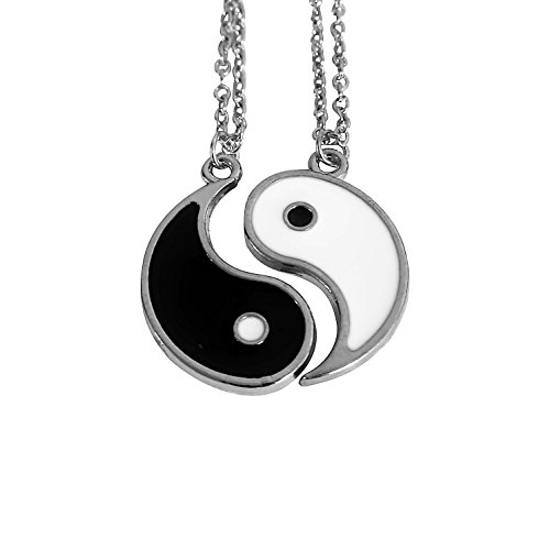 Art Attack Silvertone Yin Yang Yin-Yang Peace Love Happiness Best Friends Forever BFF Pendant Necklace Gift Set