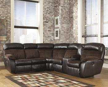 Berneen 54501-48-67 Reclining Sectional Sofa with Left Arm Facing Loveseat Right Arm Facing Loveseat with Console Storage and Cup Holders in Coffee