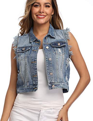 PEIQI Jean Vest for Women Button Ripped Washed Cropped Lapel Frayed Sleeveless Denim Jackets Pockets Light Blue M (Cropped Denim Vest)