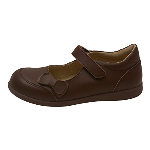 L'Amour Girls Brown Leather Double Bow Accent Mary Jane Shoes 12 Kids
