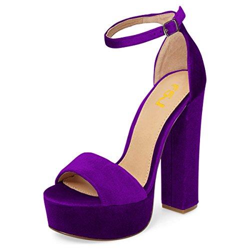 FSJ Women Sexy Ankle Strap Platform Sandals Chunky High Heel Open Toe Velvet Shoes Size 6 Purple