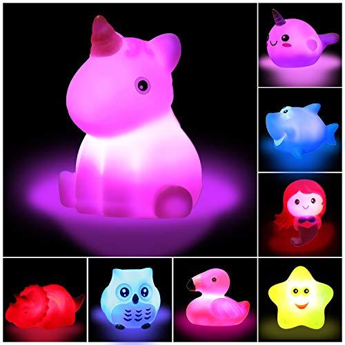 Bath Toys 8PCS Light Up Bath Tub Toys for Baby Kids Toddlers Infants, Flashing Changing Lights 8 Animal Water Toys Incl. Mermaid Unicorn Flamingo Shark etc, Mold Free Bathtub Pool - Kids Bathtub Toys
