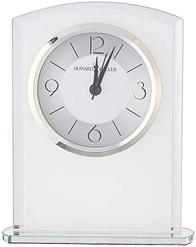 Howard Miller Glamour Table Clock 645-771 – Modern Glass with Quartz Alarm Movement - TABLE CLOCK: The Glamour Table Clock is a frosted glass clock with a gently curved top, mirrored beveled edges, and mirrored glass base to compliment your home decor. The clock's quartz movement makes a soft ticking noise without the use of chimes for a quieter environment. DURABLE: This indoor modern clock is created to last. It has a sturdy metal frame to relieve stress in a busy household. Place it in your kitchen, office, bathroom, bedroom, living room, and more. HIGH QUALITY: The design is a home essential. Easily tell time with a satin silver center and brushed silver outer ring with black Arabic numerals, hour markers, black hands, silver second and alarm hands, glass crystal, and a polished silver-tone bezel to stand out over a two-tone dial. - clocks, bedroom-decor, bedroom - 41ciYwR2o9L -