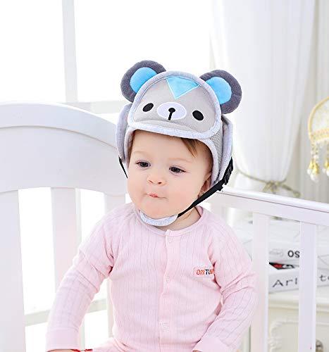 Casco de seguridad para beb/és ni/ño peque/ño arn/és de protecci/ón Cap ajustable protector de cabeza impresa beige