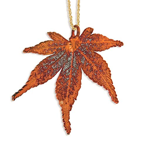 es Collection Iridescent Copper Dipped Japanese Maple Leaf Necklace w/Gold-Tone Chain 20