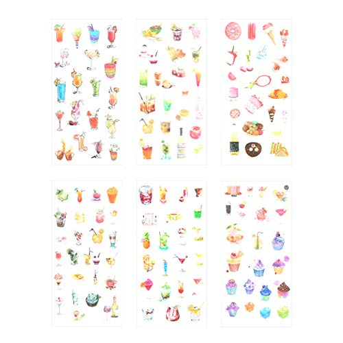 Qinlee Afternoon Tea Washi Stickers for Planners Drinks and Dessert Food Theme Adhesive Stickers 6 Sheets Paper for Diary, Album, Notebook, Bullet Journal