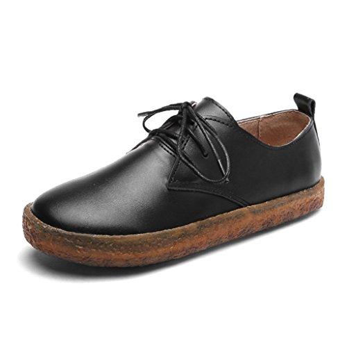 HWF Zapatos para mujer Zapatos de primavera solos Zapatos casuales de mujer Zapatos de cuero de escuela británica plana Zapatos de mujer de la universidad ( Color : Marrón , Tamaño : 38 ) Negro