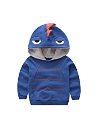 Canvos Baby Boys Autumn Long Sleeve Dinosaur Hoodie Toddler Outwear Clothes (2-3Y, Blue)