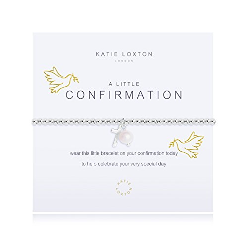 Katie Loxton A Little Confirmation Cross Silver Women's Stretch Adjustable Charm Bangle Bracelet ()
