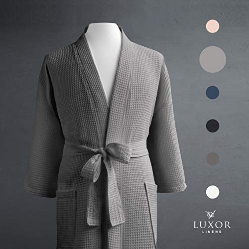 Luxor Linens Waffle Weave Spa Bathrobe - Ciragan Collection - Luxurious, Super Soft, Plush & Lightweight - 100% Egyptian Cotton (1 Robe - No Monogram, Light Grey)