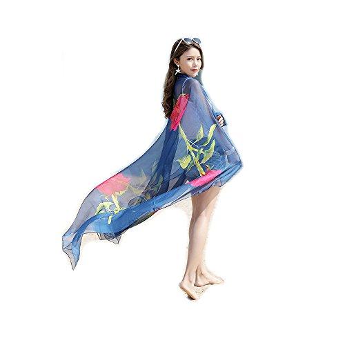 Sciarpe Stole Pareo Spiaggia Wrap Vacanza e Scialli ragazze Azzurro fiore UV Protezione Extra Bambine Blu Grande Copricostumi Donna Sarong solare SqP8zT