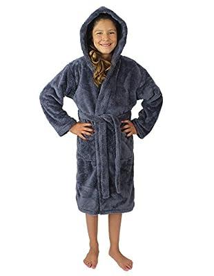 Kids Plush and Soft Fleece Hooded Bathrobe for Girls and Boys