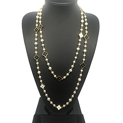 Womens Imitation Pearl - Fashion Jewelry MISASHA bridal and chic Long imitation pearl clover strand necklace (Black Clover)
