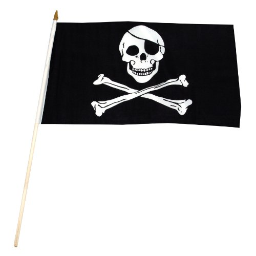 US Flag Store Pirate Jolly Roger Stick Flag, 12 by 18-Inch