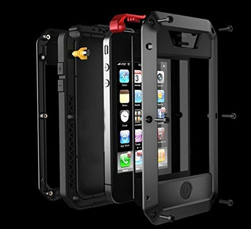 iPhone 4S Case,Amever Shockproof Dust/Dirt Proof Aluminum Metal Military Heavy Duty Protection Cover Case for Apple iPhone 4 4S Black White Silver Rose Pink Red Yellow Golden (Black/Black/Red) ()