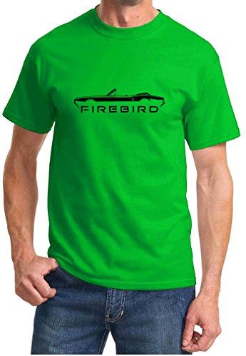 (1967 1968 Pontiac Firebird Convertible Classic Outline Design Tshirt XL green )