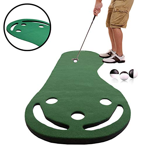 Rukket Golf Putting Green | Indoor & Outdoor Mini Putt Mat for Office & Backyard | Practice Puttout Set Game for Adults & Kids | Miniature Putting Home Training Aid with Alignment Balls