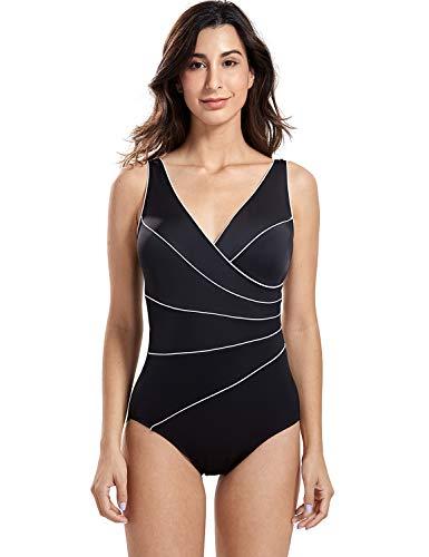DELIMIRA Women's Slimming Swimwear One Piece Piped Swimsuit Plus Size Bathing Suit Black US 14W ()