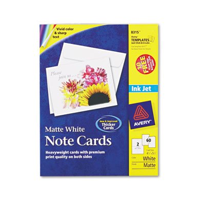 Note Cards for Inkjet Printers, 4-1/4 x 5-1/2, Matte White, 60/Pack w/Envelopes, Total 300 EA, Sold as 1 Carton by Avery